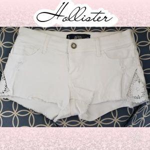 White crochet Jean shorts Hollister 27 5